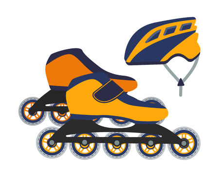 Vector illustration of roller blades and a helmet. Outdoor sport equipment.