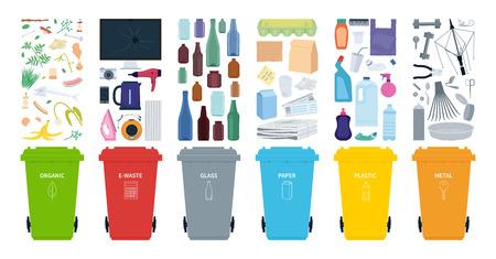 Mülleimer für das Recycling verschiedener Abfallarten. Sortieren Sie Plastik, Bio, Elektroschrott, Metall, Glas, Papier. Vektor-Illustration. Vektorgrafik