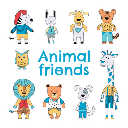 Animal characters set. Zebra, hare, reindeer, tiger, owl, giraffe, lion, bear and a dog smiling. Vector illustration for kids.
