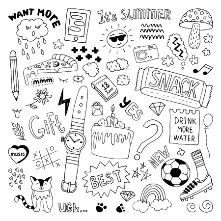 Hand drawn doodles set. Vector illustration