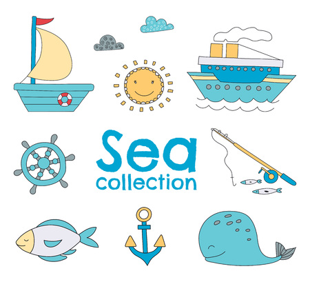 Vector sea set with hand drawn elements. Çizim