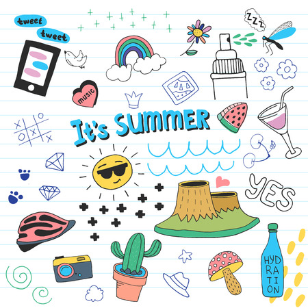 Summer doodle set. Hand drawn illustration in vector.