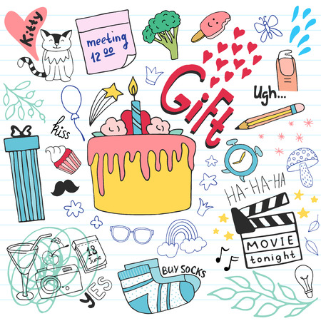 Birthday gift doodle set. Hand drawn illustration in vector.