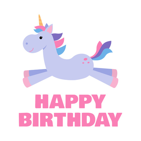 Greeting card for a kids birthday with a cute unicorn. Vector illustration. Çizim
