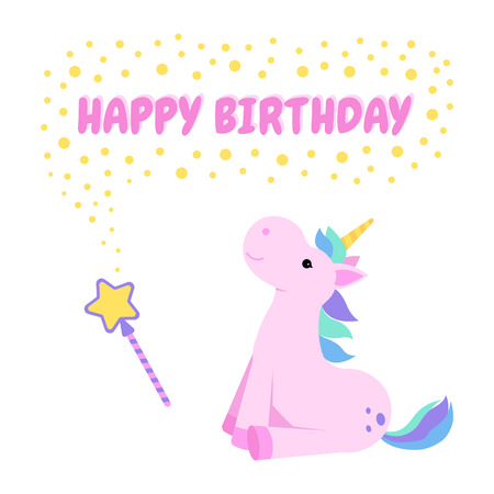 Happy birthday greeting card with a unicorn and a magic wand. Vector illustration.