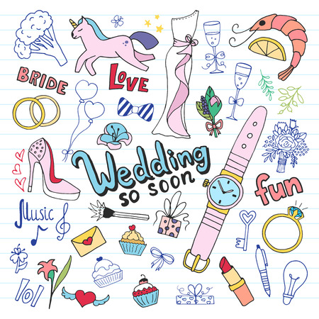 Wedding doodle set. Hand drawn illustration in vector.