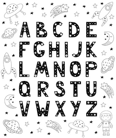 English alphabet for kids in Scandinavian style. Poster with space doodles and letters. Vector illustration. Çizim