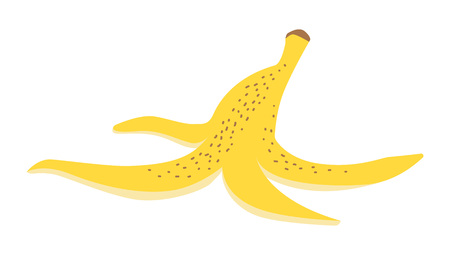 Banana peel. Organic waste, food leftover vector illustration.