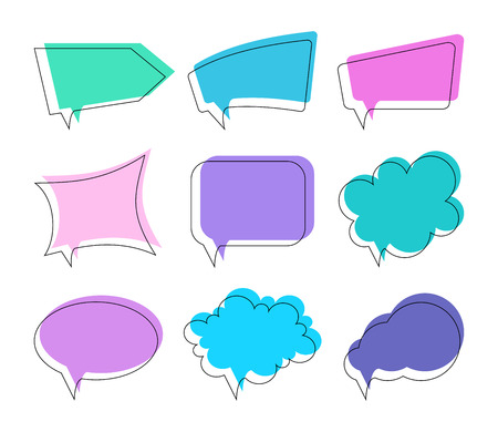Speech bubbles of different shapes. Vector set. Çizim