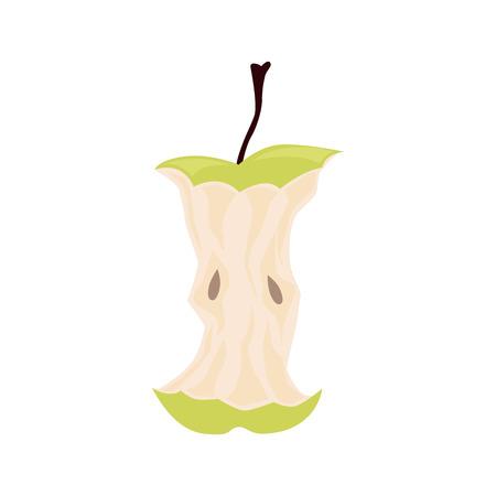 Corazón de manzana verde. Residuos orgánicos, restos de comida ilustración vectorial. Ilustración de vector