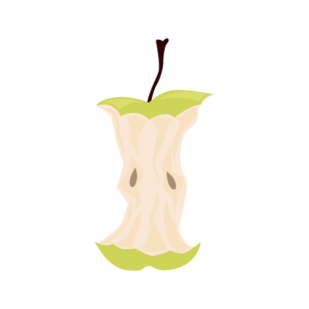 Green apple core. Organic waste, food leftover vector illustration. Ilustração