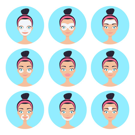 Vector illustration of mask patches for different zones of face, like forehead, nose, lips, under eye, chin and eyelids. Skincare anti-wrinkle products application.