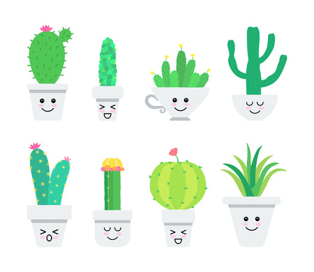 Set of cute cartoon cacti characters. Vector illustration.