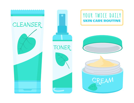 Cleanser, toner and cream. Vector illustration of products for daily face skincare routine.