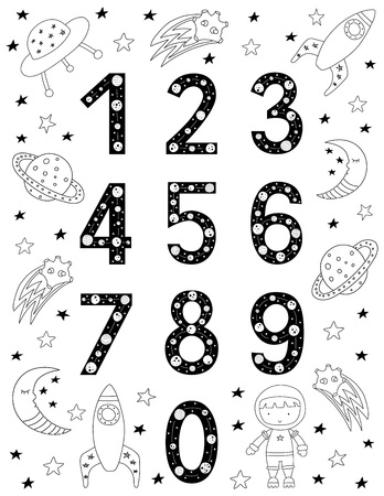 Numbers for kids in Scandinavian style. Poster with space doodles and letters. Vector illustration. Çizim