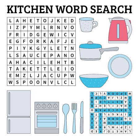 Learn English with a kitchen word search game for kids. Vector illustration. Çizim