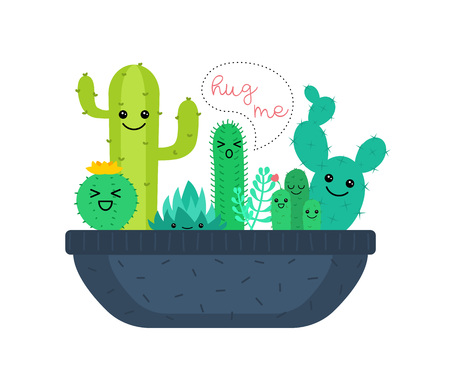 Vector illustration of cute cartoon cactus and succulents characters. Çizim