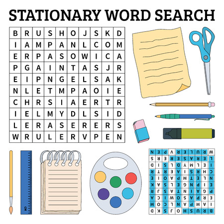 Learn English with a stationary word search game for kids. Vector illustration. Çizim