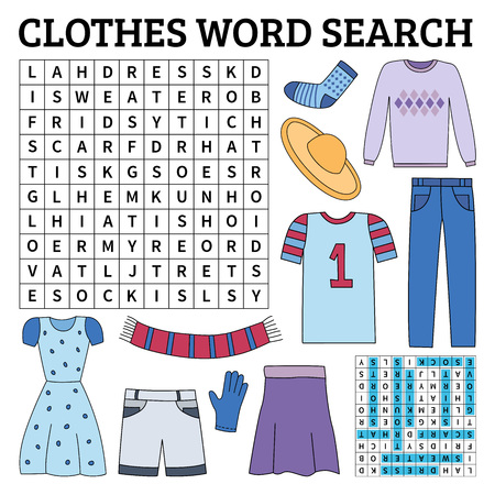 Learn English with a clothes word search game for kids. Vector illustration. Çizim