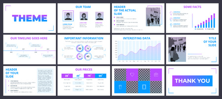 Clean design of a business presentation template. Vector set of infographic elements for marketing, advertising or annual report. Gradient violet and blue elements on white background.