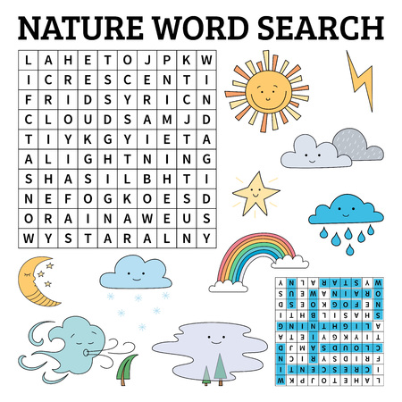 Learn English with a nature word search game for kids. Vector illustration. Çizim