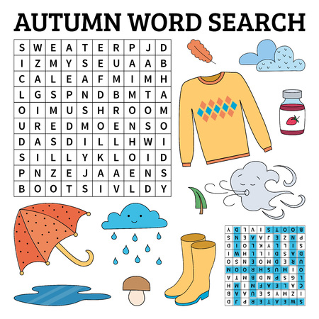 Learn English with an autumn word search game for kids. Vector illustration.