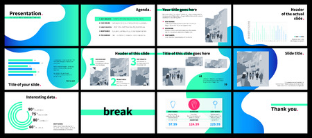 Clean design of a business presentation template. Vector set of infographic elements for marketing, advertising or annual report. Blue and green fluid gradient shapes on white background. Çizim
