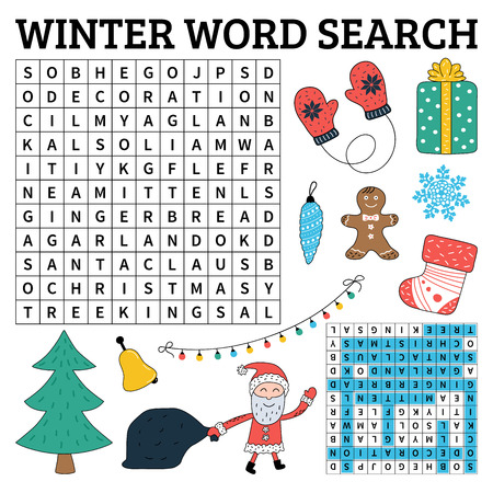 Winter and Christmas word search game for kids. Vector illustration for learning English.