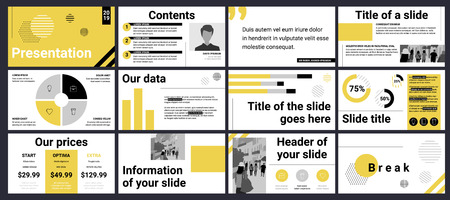 Design of a business presentation template in yellow and grey. Vector set of infographic elements for marketing, advertising or annual report.