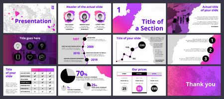 Progettazione di un modello di presentazione aziendale con schizzi di vernice sfumata rosa e viola e forme circolari. Set vettoriale di elementi infografici per marketing, pubblicità o relazione annuale. Vettoriali