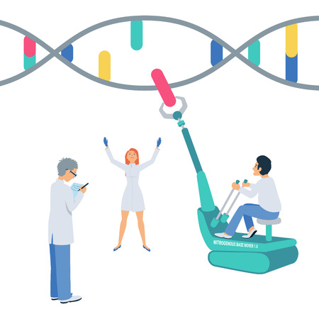 DNA sequencing. Scientists create human genome. Trendy vector illustration with small people.