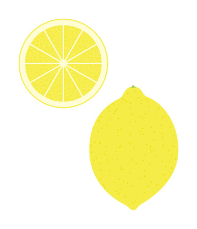 Fresh lemon and a slice. Raw food vector illustration.