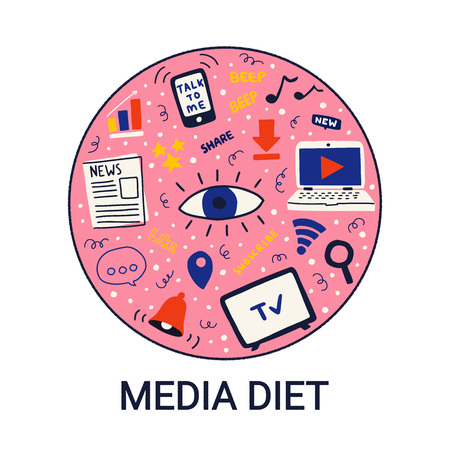 Concept for media diet in a circle on white background. Vector illustration for information overload.