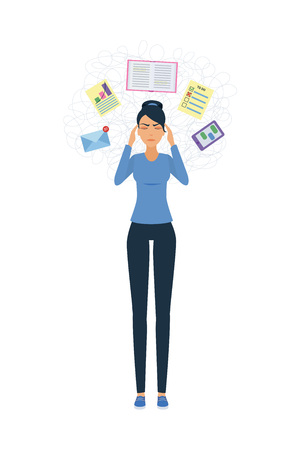Young woman in stress. Standing. Too many thoughts. Information overload vector illustration.