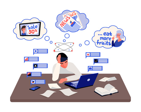 Stressed man sitting in front of a desk with notifications and thoughts around him. Information overload concept vector illustration.