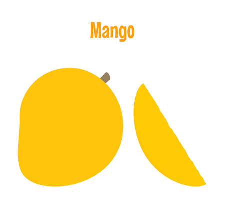Fresh mango and a slice. Raw food vector illustration.