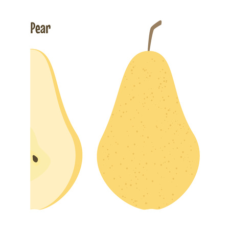 Fresh yellow pear and a slice. Raw food vector illustration.