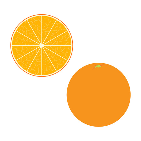 Fresh orange and a slice. Raw food vector illustration.