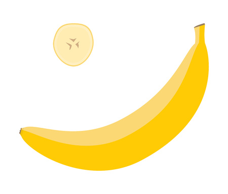 Fresh yellow banana and a slice. Raw food vector illustration.  Çizim