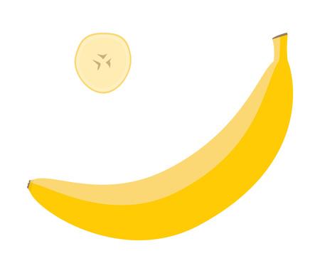 Plátano amarillo fresco y una rodaja. Ilustración de vector de alimentos crudos. Ilustración de vector