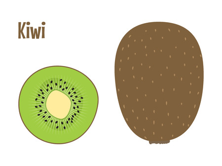 Green fresh kiwi fruit whole and a slice. Raw food vector illustration.