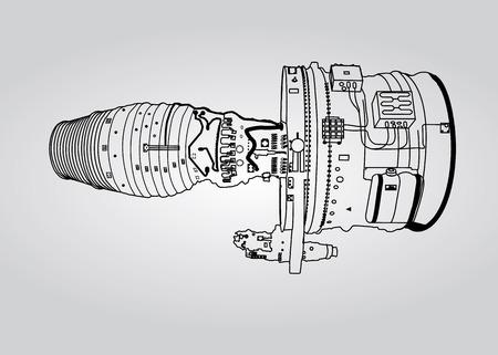 airplane engine: Vector outline airplane engine plan