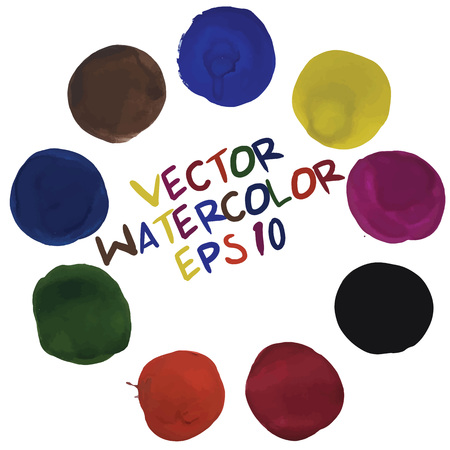 Beautiful watercolor and gouache round design elements . Vector illustration