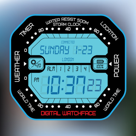 Digital watch watchface. Vector illustration 矢量图像