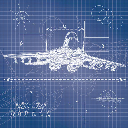 technical drawing: Military aircraft blueprint