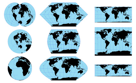 Vector outline world maps in different projections