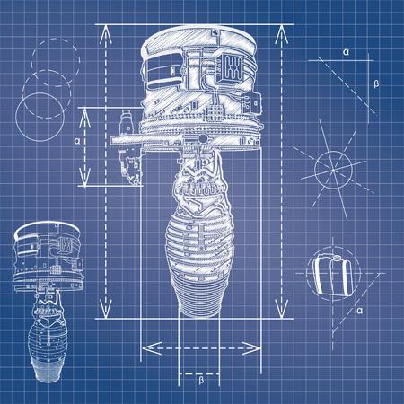 dibujo tecnico: plan de motor de avi�n vector esbozo de estilo plano