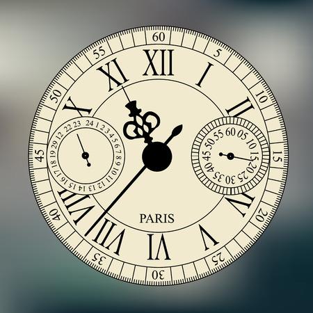 caritas pintadas: pasado de moda su esfera antiguo reloj de pulsera en el fondo borroso Vectores