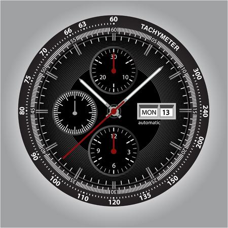 Polshorloge wijzerplaat met chronograaf en tachymeter