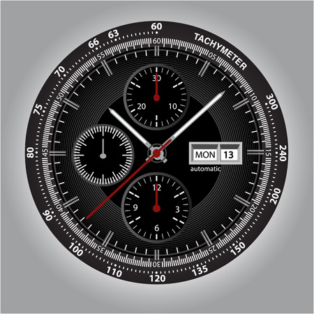 Wrist watch watchface with chronograph and tachymeter